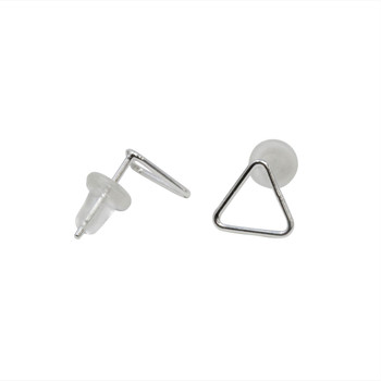 Sterling Silver 7mm Bubble Triangle Stud Earrings - Sold as a Pair