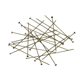 """Brass Plated 2"""" Long 21 Gauge Head Pins - 20 Pieces"""