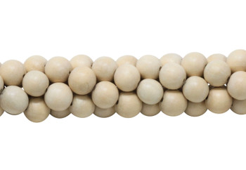 Cheese Wood Natural White Polished 12mm Round No Wax