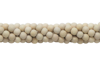 Cheese Wood Natural White Polished 6mm Round No Wax