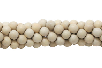 Cheese Wood Natural White Polished 10mm Round No Wax