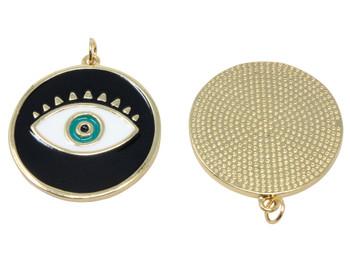 28mm Black Evil Eye Enamel Pendant