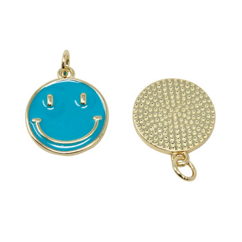 15mm Teal Enamel Smiley Pendant