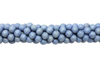 Dyed Sky Blue Wood Polished 8mm Round