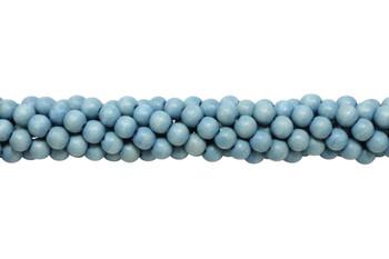 Dyed Dark Aqua Blue Wood Polished 8mm Round