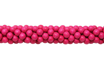 Dyed Hot Pink Wood Polished 8mm Round