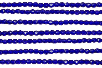 Fire Polish 4mm Faceted Round - Cobalt