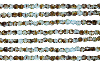 Fire Polish 4mm Faceted Round - Teal Tortoise