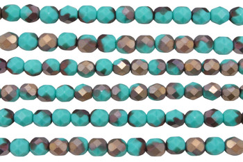 Fire Polish 6mm Faceted Round - Matte - Apollo Turquoise