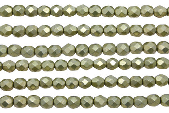 Fire Polish 6mm Faceted Round - Metallic Limelight