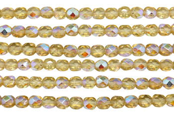 Fire Polish 6mm Faceted Round - Light Topaz AB