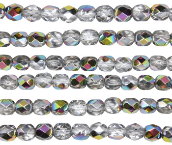 Fire Polish 6mm Faceted Round - Crystal - Vitral