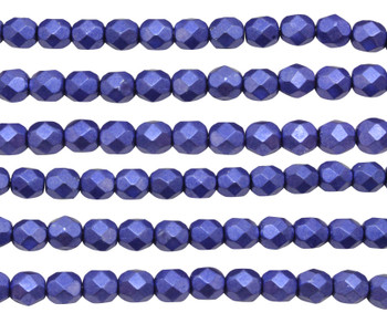 Fire Polish 6mm Faceted Round - Metallic Ultra Violet