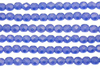 Fire Polish 6mm Faceted Round - Sueded Gold Sapphire