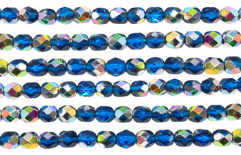 Fire Polish 6mm Faceted Round - Capri Blue Vitral