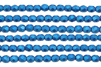 Fire Polish 6mm Faceted Round - Metallic Galaxy Blue