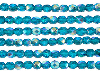 Fire Polish 6mm Faceted Round - Teal AB