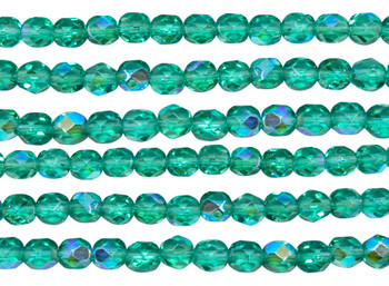 Fire Polish 6mm Faceted Round - Light Teal AB