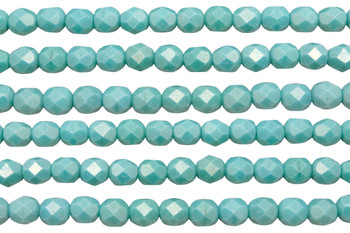 Fire Polish 6mm Faceted Round -Sueded Gold Turquoise