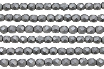 Fire Polish 6mm Faceted Round - Metallic Frost Grey