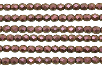 Fire Polish 6mm Faceted Round - Copper