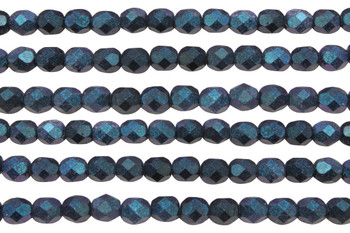 Fire Polish 6mm Faceted Round - Indigo Orchid