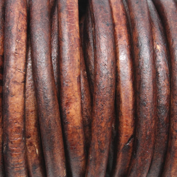Natural Antique Brown 5mm Leather Cord - Sold by the Foot