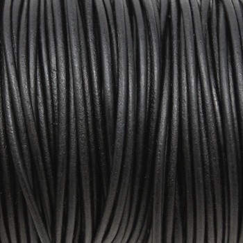 Natural Black 2mm Leather Cord - Sold by the Foot