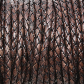 Antique Brown 3mm Braided Bolo Leather Cord - Sold by the Foot