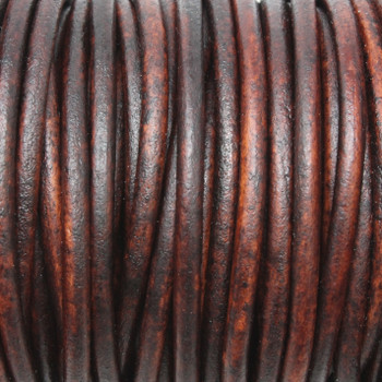 Natural Antique Brown 3mm Leather Cord - Sold by the Foot
