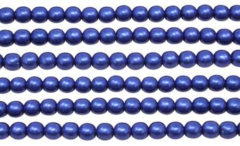 Czech Glass 6mm  Round -- Metallic Lapis Blue