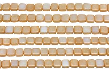 CzechMates® 6mm 2 Hole Tile -- Milky Antique Shimmer