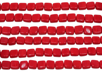 CzechMates® 6mm 2 Hole Tile -- Opaque Red