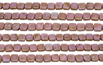 CzechMates® 6mm 2 Hole Tile -- Luster Opaque Rose Gold Topaz