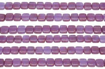 CzechMates® 6mm 2 Hole Tile -- Pink / Topaz Luster Milky Alexandrite