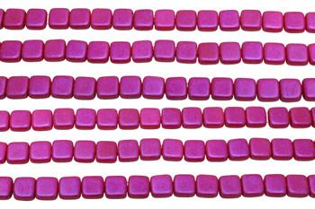 CzechMates® 6mm 2 Hole Tile -- Opalescent Neon Pink