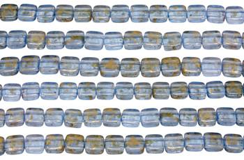 CzechMates® 6mm 2 Hole Tile -- Gold Marbled Light Sapphire