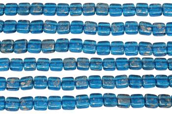 CzechMates® 6mm 2 Hole Tile -- Gold Marbled Capri Blue