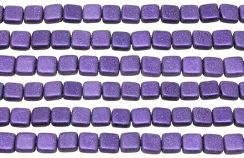 CzechMates® 6mm 2 Hole Tile -- Metallic Suede Purple