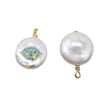 Freshwater Pearl Coin with Blue Evil Eye