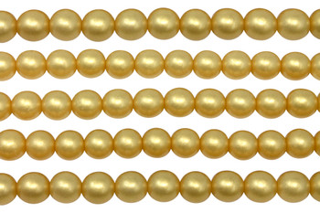 Czech Glass 8mm Round -- Sueded Gold Lamé
