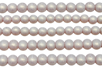 Czech Glass 8mm Round -- Sueded Gold Milky Pink