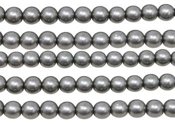 Czech Glass 8mm Round -- Metallic Frost Grey
