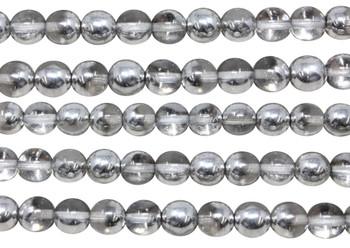 Czech Glass 8mm Round -- 1/2 Silver