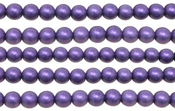 Czech Glass 8mm Round -- Metallic Suede Purple