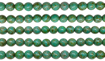 Czech Glass 8mm Round -- Opaque Turquoise Picasso