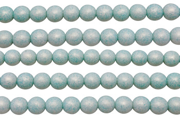 Czech Glass 8mm Round -- Sueded Gold Turquoise
