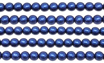 Czech Glass 8mm Round -- Metallic Evening Blue