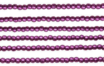 Czech Glass 2mm Round -- Sueded Gold Fuchsia Red