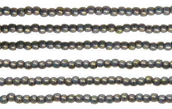 Czech Glass 2mm Round -- Turquoise Bronze Picasso